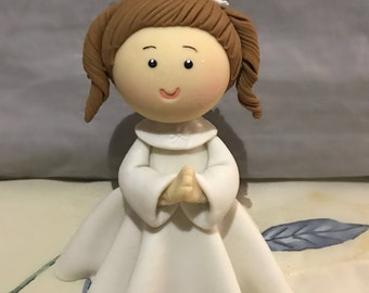 Clay First Communion Girl, Cake topper, Center piece, Keepsake *MADE TO ORDER*