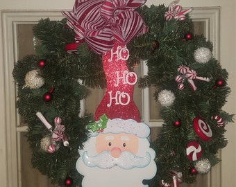 Santa holiday wreath