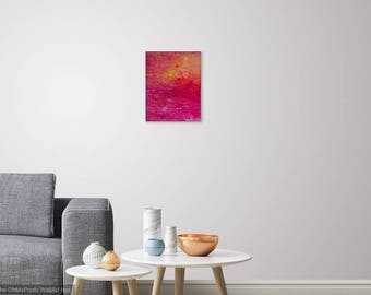 Acrylic abstract canvas painting, Contemporary artistry, Small artwork wall art, 11x14 Original Red & yellow Sunset home hanging wall decor