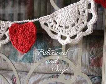 Crocheted Valentine Garland, Valentine Bunting, Crocheted Doily, Granny Square Garland, Valentine's Day, Heart Garland, Crocheted Heart, Red