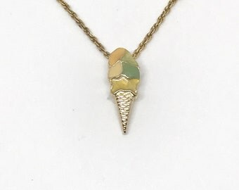 Vintage Ice Cream Charm Necklace - Cute Gold Ice Cream Necklace - Ice Cream Choker - Ice Cream Necklace - Dainty Delicate Ice Cream Charm