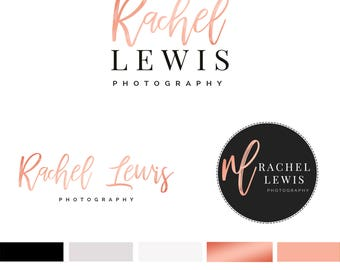 Branding Kit Template, Photography Logo, Photographer Logo, Branding Kit, Rose Gold Logo, Premade Logo, 3 Logos, INSTANT DOWNLOAD, DIY Logo