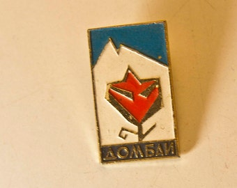 Vintage USSR Soviet Russian Pin Badge TOURIST Camp Resort Dombai Dombay Soviet city 1970s Домбай Memorabilia Collectible Pin