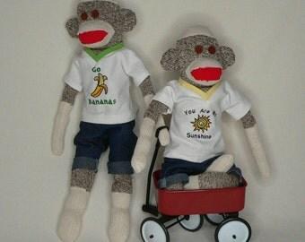 Twin Sock Monkeys - Brothers, Sisters, Combo (We Can Add a Bow to One or Both) - They Come as a Set of Two !