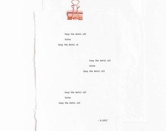 Love Box: Keep the Devil Off - Inspirational, Spiritual, Funny, Romantic Greeting Card /Poem -Gifts for Bestfriend, Girlfriend, Boyfriend
