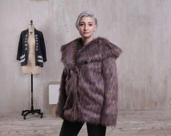 Faux fur coat Wide collar Gray rainbow color Playa coat Festival coat Party jacket Colourful fur jacket Racoon coat Disco jacket