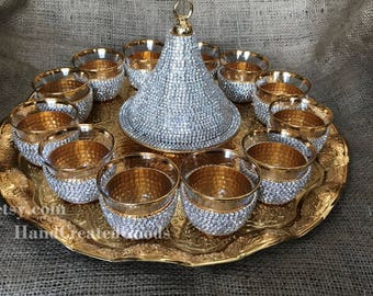 Mirra 12  person Tea and coffee  Set with  big tray and sugar bowl ,cups and glass ,cup with plate. silver colored shiny crystal stones