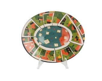 Oval Table Center 30 x 25 cm with abstract decoration-abstract Islands Line