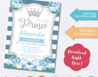 Little Prince Birthday Invitation, Blue and Silver Birthday Invitations, Boy Birthday Party Invitation, Boy Birthday Invite, Prince Birthday