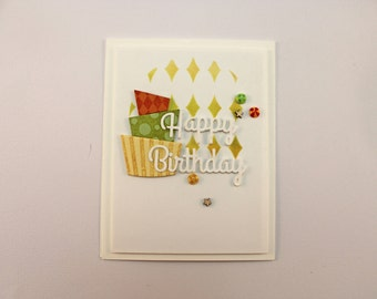 Birthday Greeting Card with Crookey Cake, Enamel Dots and Wood Embellishments;