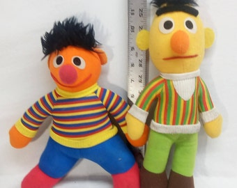 Vintage 1980's Bert and Ernie Plush Stuffed Sesame Street Hasbro Softies Dolls