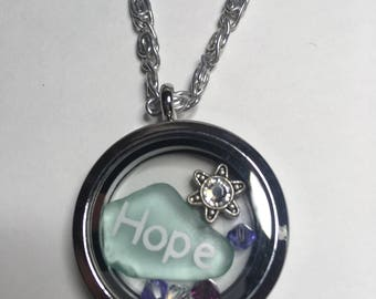 Hope Floats,Stainless Steel Memory Locket,Gift of Encouragement,Sea Glass Beauty,Mint Green,Comfort Gift,Meaningful Gift Idea,Friend 4 ever