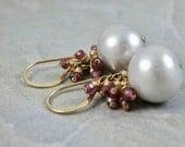 Fresh Water Pearl And Garnet Gemstone Cluster Earrings