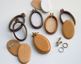 Kit NO laser Mini hoops embroidery frames - Premium hardwood: Maple, Cherry or Walnut - (MH2540-X) - 25 x 40 mm