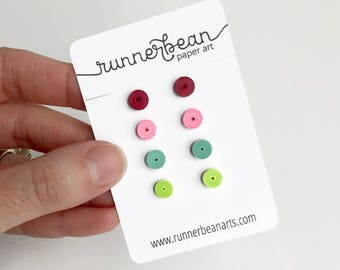 Stud earring set made from paper, earrings for girls, birthday gift, christmas gift, gift for her, quilled paper earrings