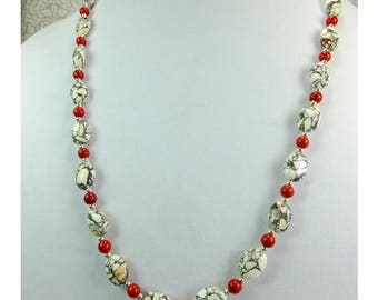 Black, Gray and White and Yellow Mosaic Stone Beads with Red Stone Beads Necklace