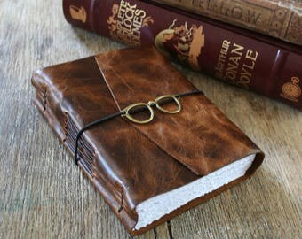 """GEEK Leather Journal - """"If at first you don't succeed, call it version 1.0""""  - dark brown . brass glasses (320 pgs)"""