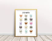 Cat Moods Cute Cat Art Print Watercolor Illustration