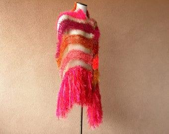 Bright Shawl Scarf Wrap, Metallic Gold Neon Fluorescent Womens Clothing Hot Pink, Orange, Salmon, Red Shawl Wrap with Fringe