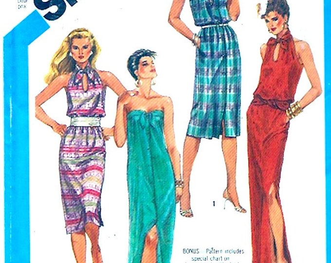 80s  halter dress summer evening wear resort vacation style Simplicity 6431 vintage sewing pattern Size 10 or 14 UNCUT