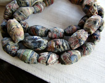 4 ethnic lampwork beads, rustic tube glass beads ,  texture matte motif, replica of old antique beads - 4 beads  7ab70