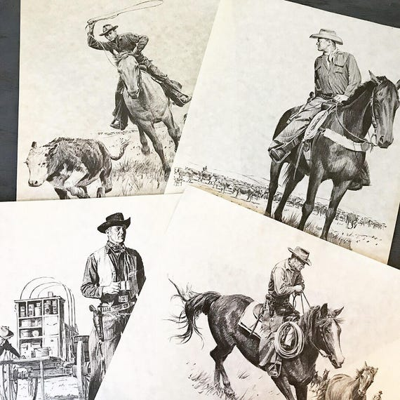 vintage cowboy sketch print set - John Walter Scott lithographs - Mid Century Modern - western style wall decor - Set of 4