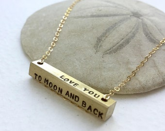 Love you to Moon and Back bar necklace, Personalized necklace, horizontal bar necklace, custom message bar, Personalized bar necklace
