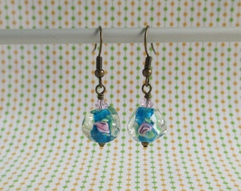 Icy Glass Earrings, Teal Blue, Pink Rose, Clear Glass, French Hook Or Leverback