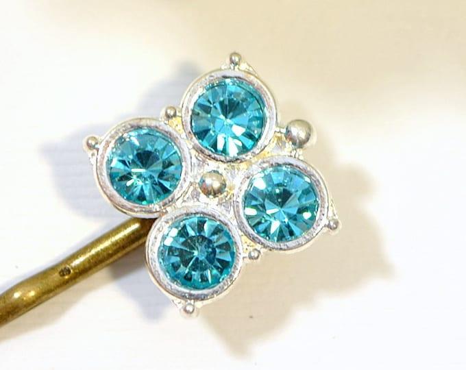 Light Blue Bobby Pin Small Hair Pin Crystal Hair Slide Blue Hair Pins Handmade Something Blue
