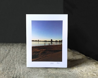 """Greeting card, Blank, All Occasions, """"Last Swim in the Fall, Minneapolis"""", 4 1/4 x 5 1/2 in"""