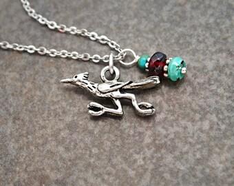 Road Runner Necklace, Southwest Necklace, Tiny Road Runner, Turquoise Necklace, Road Runner Pendant, Garnet, Road Runner Gift