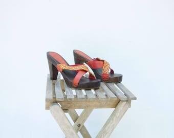 Vintage Mules 80s Platform Sandal Vintage Red Sandals Size 5.5 Vintage Wood Clog High Heel Sandal Red Leather Sandal Red Platform Sandal 5.5