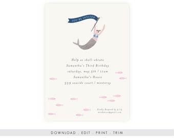 Mermaid Invitation Birthday | Mermaid Invitation Printable, Mermaid Invitation Baby Shower, Mermaid Invitation Download, Under the Sea, PDF