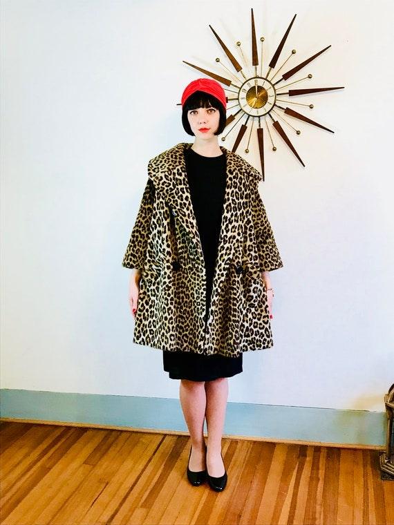 50s Leopard Coat, Dan Millstein Coat, Leopard print coat, 1950s leopard coat, 50s Trapeze Coat, Leopard Swing Coat, Long leopard coat