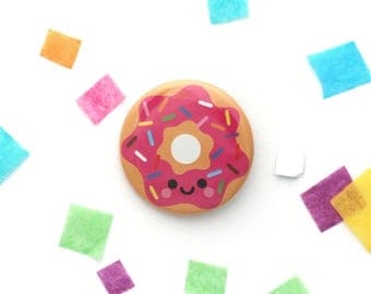 Strawberry Pink Donut Badge, Junk Food Gift, 38mm Button Badge, Cute Treats, Fun Gift