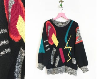 Vintage 1980s-90s Adolfo Collectibles Colorful Geometric Sweater Size L