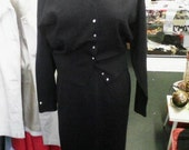 The Best Late 50s NOS Black Italian Knit Set by Sebastian with Button and Design Details - S/M