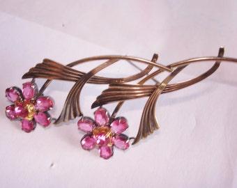 Symmetalic Sterling Flower Pink Rhinestone Stones