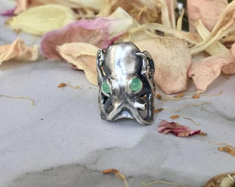 Octopus Ring with Green Chrysoprase Eyes in Oxidized Sterling Silver