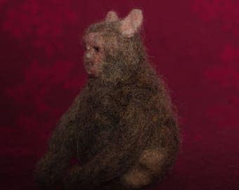 Rhesus Macaque Monkey  - handmade by needle felting wool into felt sculpture