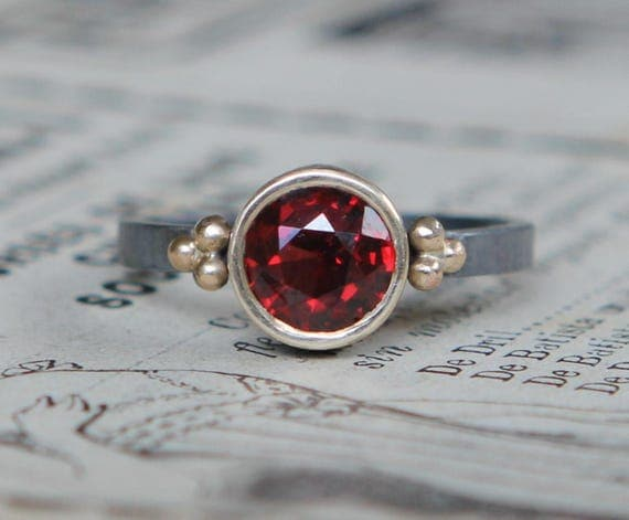 Red Wine Garnet Ring, Clothing Gift,January Birthstone Ring, Unique Engagement Ring, Artisan Jewelry, Garnet Ring Gold Sterling Silver