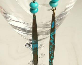 Long Drop Earrings,Patina Teardrop Earrings,Boho,Southwestern,Long EarringsDangling,Verdigris