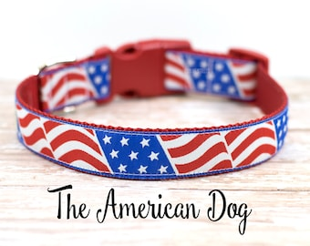"Flag Dog Collar, 4th of July Dog Collar, Flag Collar, July 4th Dog Collar, 1"" Wide, Side Release Buckle, Martingale"