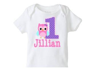 Owl Birthday Shirt, Owl Birthday Party Shirt, Girls Owl Birthday Party, 1st Birthday Shirt, 2nd Birthday Shirt,3rd Birthday Shirt, Owl Party