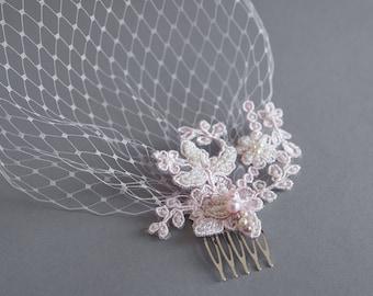 Light pink veil - Birdcage veil - Bridal headpiece - Lace birdcage veil - Wedding birdcage - Blush lace fascinator