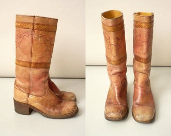 1970's Vintage Brazilian Made Tooled Leather Southwestern Cowboy Knee High Boots Approx Size UK 6 Euro 39