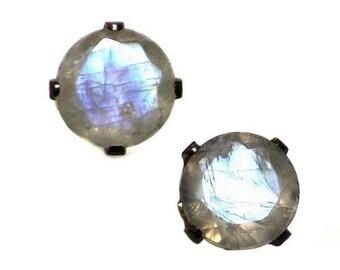 Moonstone Earrings Studs, Vintage Rainbow Moonstone Stud Earrings in Sterling Silver, Blue Moonstone Jewelry, Moonstone Gift For Her