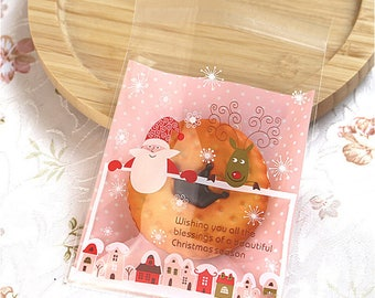 Santa cookie bags pack of 20 cute Christmas plastic baggies design gift craft holiday party candy cookie favors self seal - Lillibon