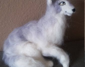 Lady Game of Thrones dire wolf needle felted