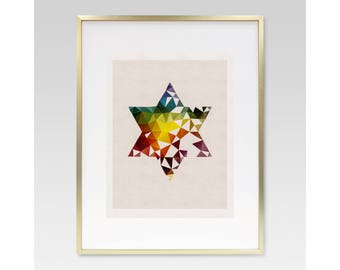 STAR OF DAVID- Judaica, Jewish, Hebrew, Wall Art, Print, Gift